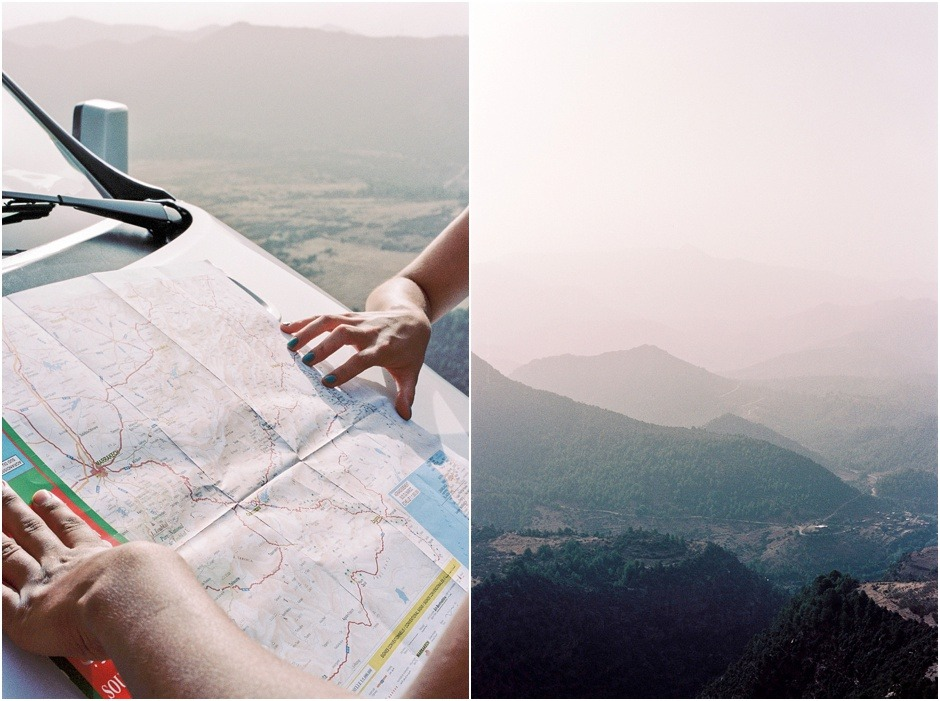 Diptych of map planning and the view in Morocco