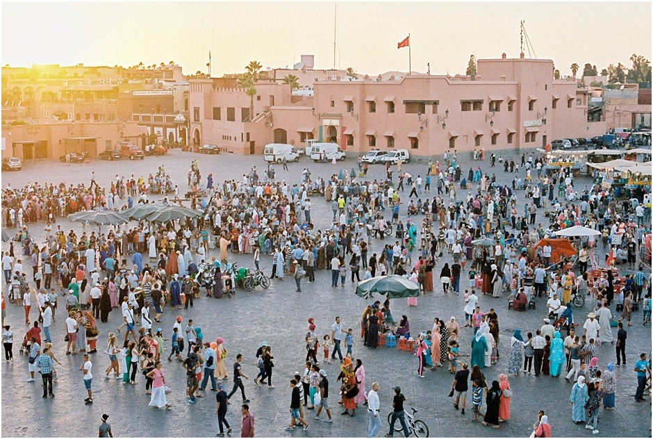 Jemaa el Fna at sunset as the market starts to get busier in Marrakesh