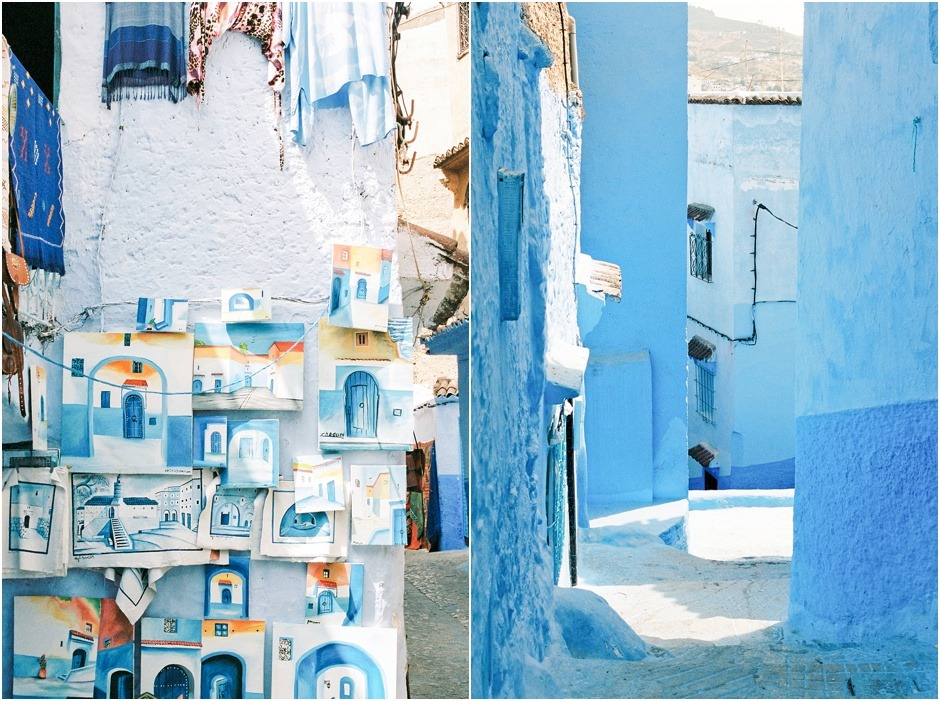 The blue city of Chefchaouen. Diptych of artwort and streets