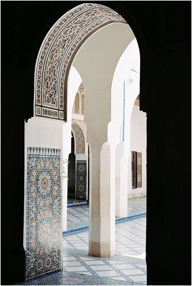 Silhouette doorway in Ben Youssef Madrasa, Marrakesh, Morocco