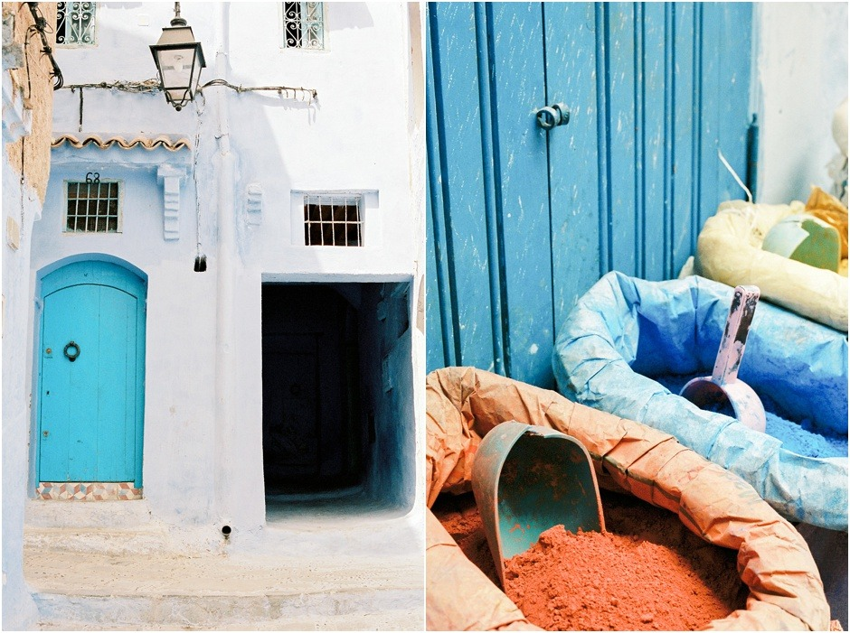 Chefchaouen the Blue City. Diptych of colouful powder and houses