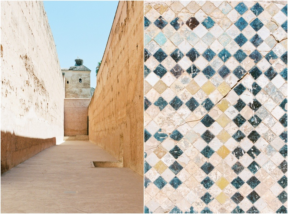 Diptych of El Badi Palace tiles and walkways