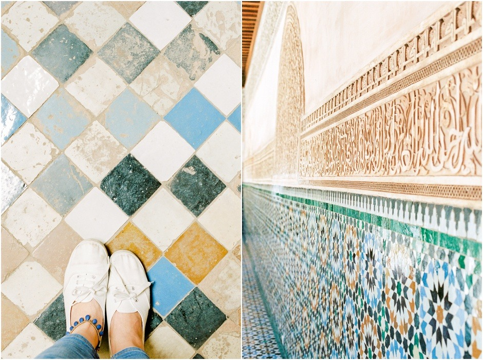 Diptych of Morocco colourful tiles
