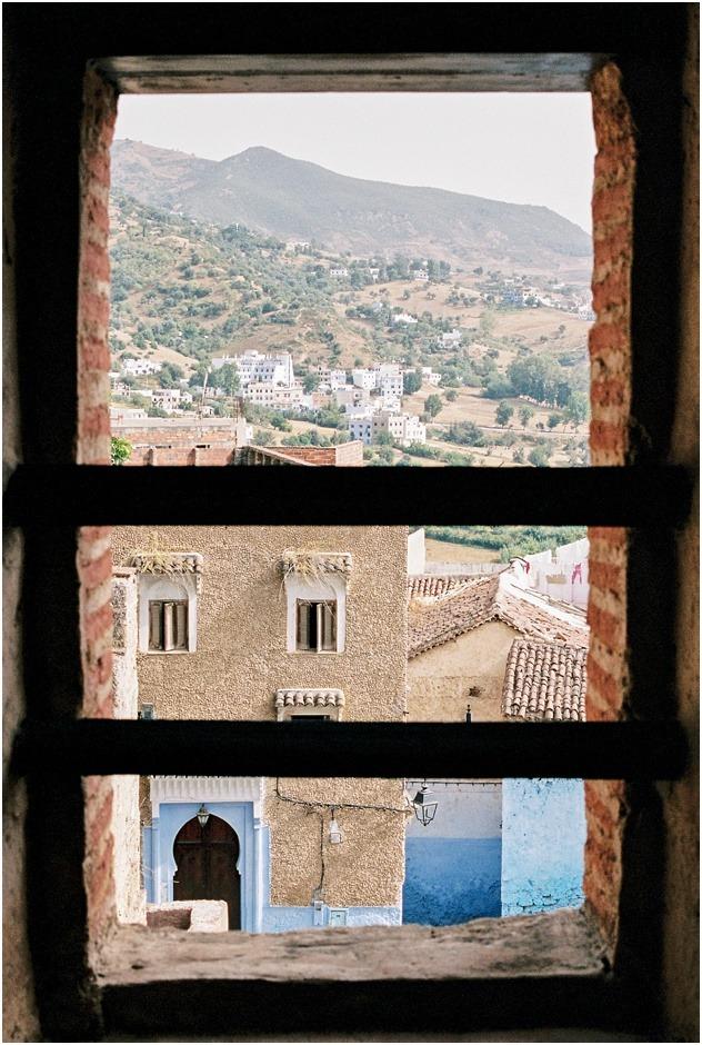 Views of Chefchaouen through a window