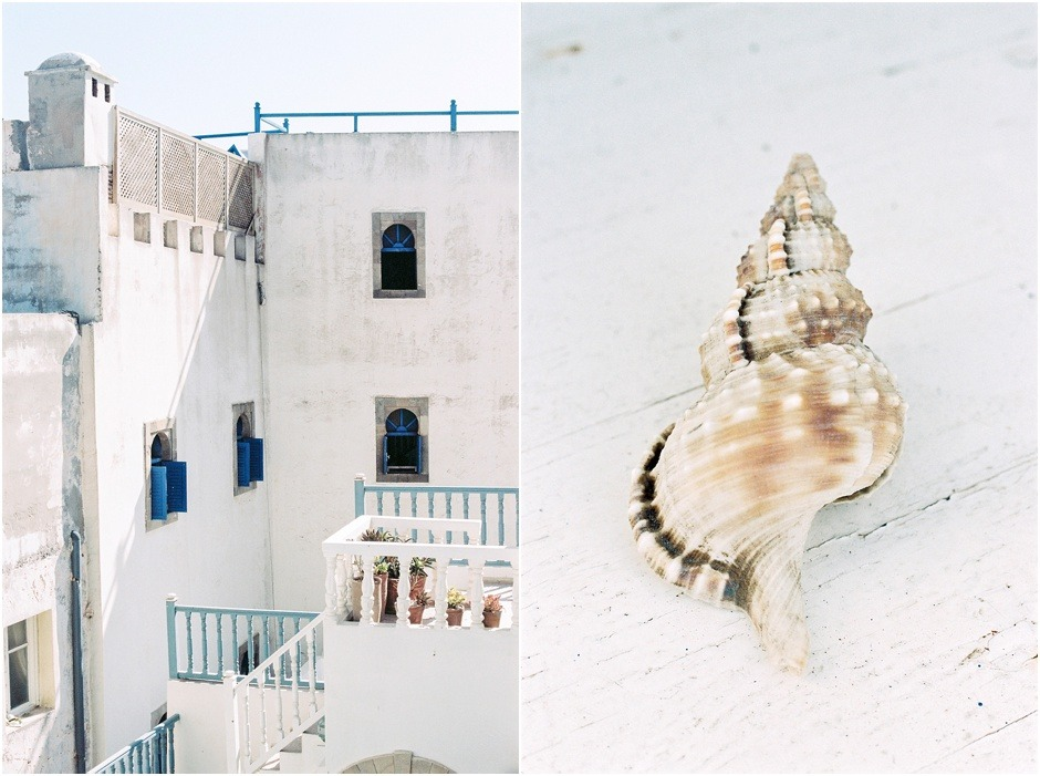 Diptych in Essaouira of seashell and white and blue Riad