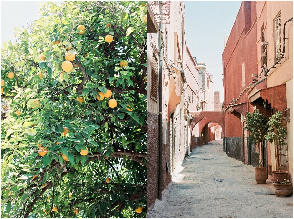 Diptych of orange trees and empty streets in Marrakesh, Morocco