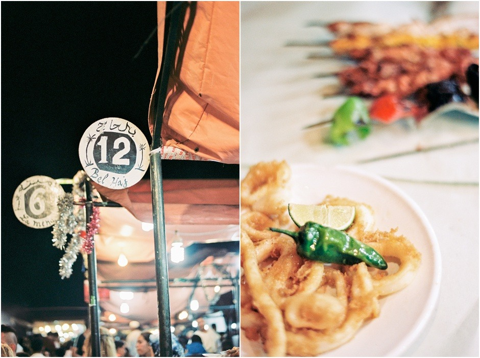 Diptych of the stalls and street foor at the Jemaa el Fna night market