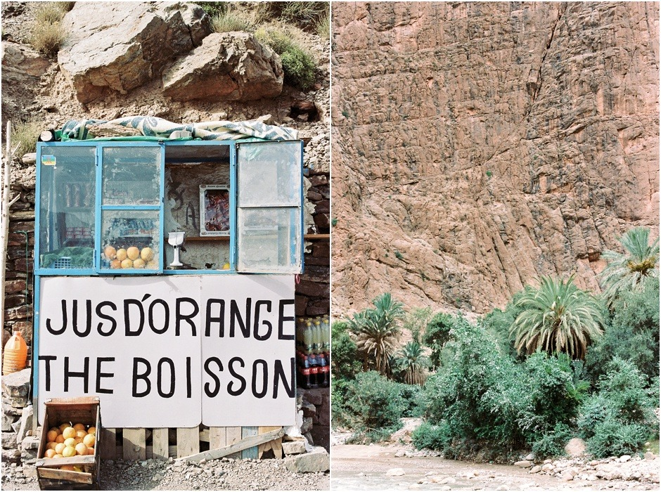 Atlas mountains diytych of small organse juice shack and palm trees