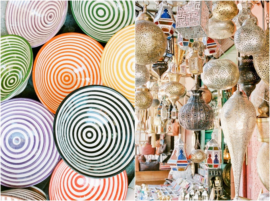 Diptych of bowls and lanterns sold in the souks of Marrakesh