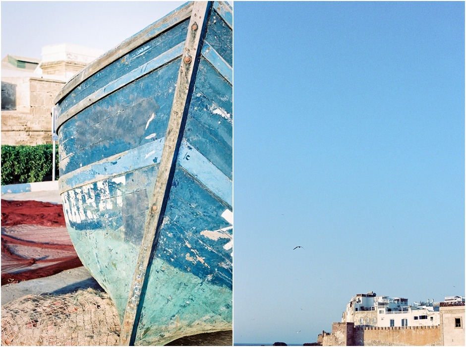 Diptych of Essaouira old city walls and the details of a traditional fishing boat