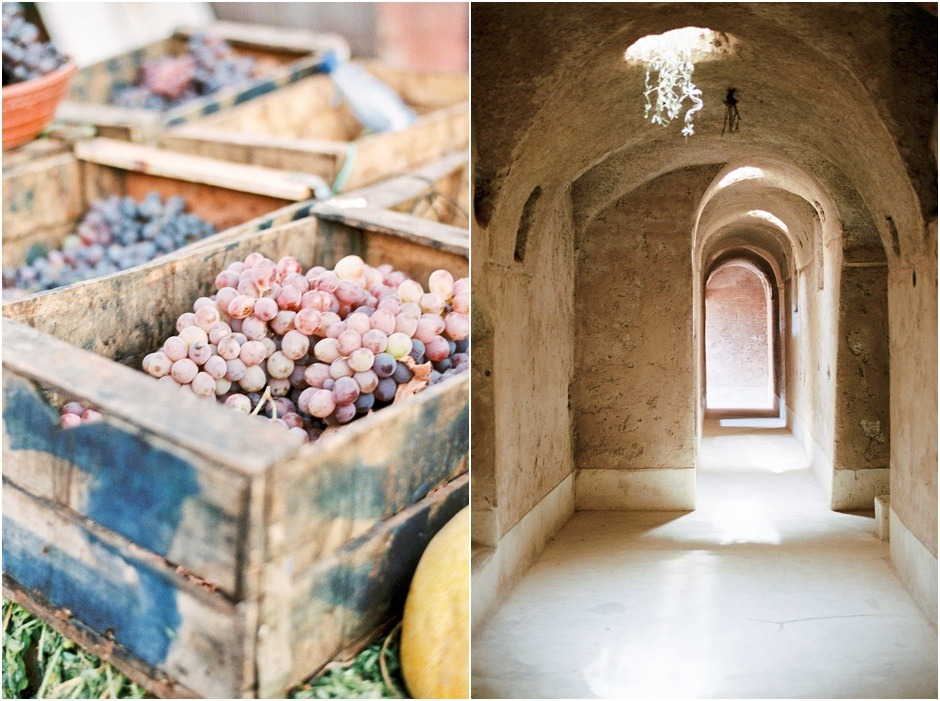 Diptych of grapes sold on the streets of Marrakesh and El Badi Palace basement