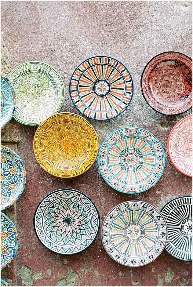 Colourful Moroccan bowls for sale in the Marrakesh Souks