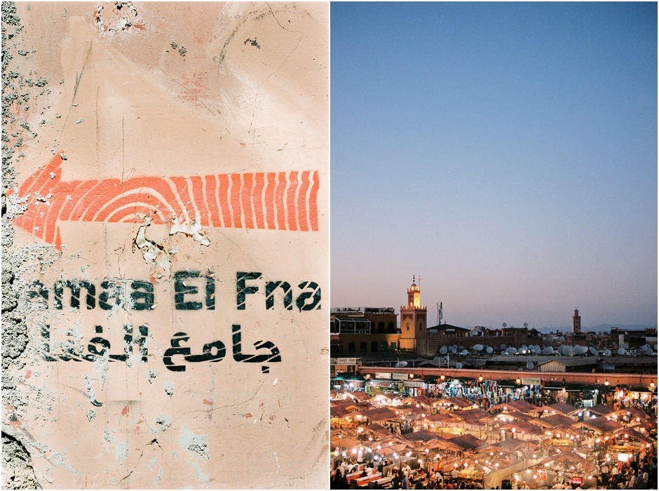 Diptych of Jemaa el Fna at night and sign directing to the medina