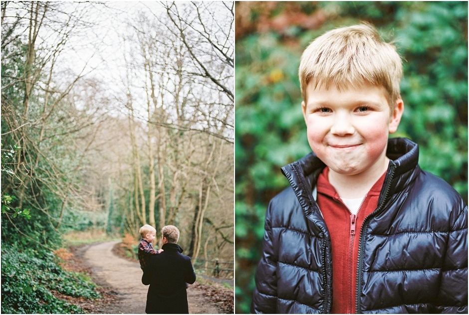 Durham family walk of father and sons during winter. Lifestyle Photography.