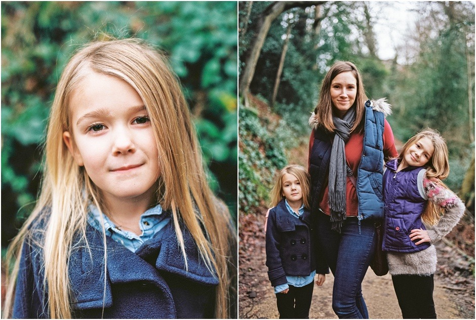 Lifestyle family photography showing portraits of mum and daughters in Durham in winter. Durham Family Photography.