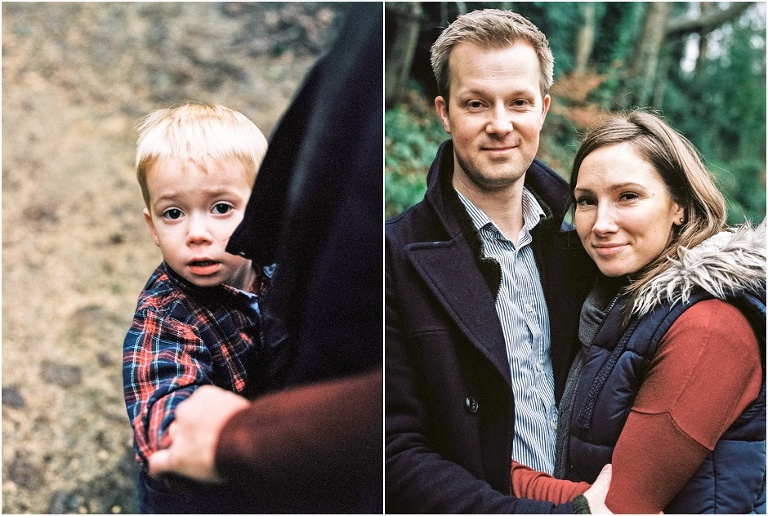 Durham family lifestyle shoot. Young son looking at camera and parents portrait.