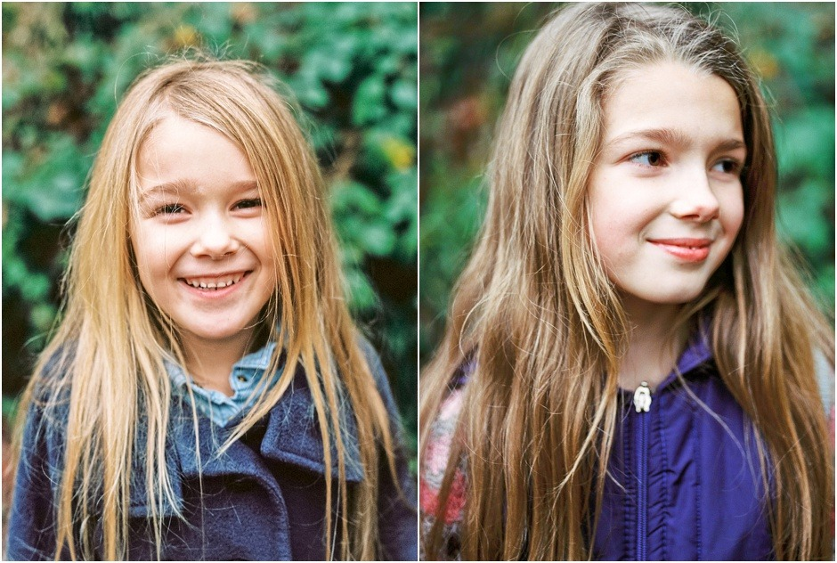 Portrait of two young sisters, smiling during family lifestyle photoshoot in Durham.