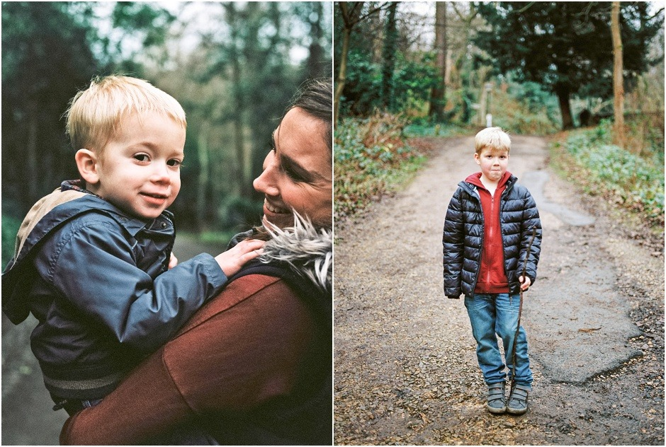 Portraits of Mum and sons in Durham on a walking during winter. Durham Family Photography.