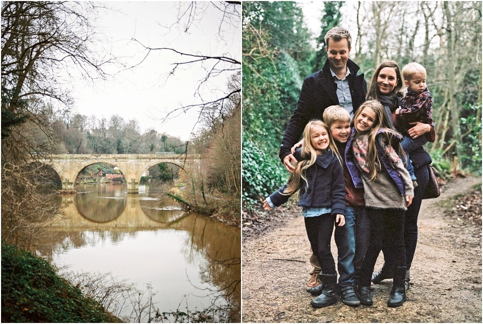 Durham Winter Lifestyle Family Shoot by Fiona Caroline Photography. Fmaily portrait on a muddy path in the woods.