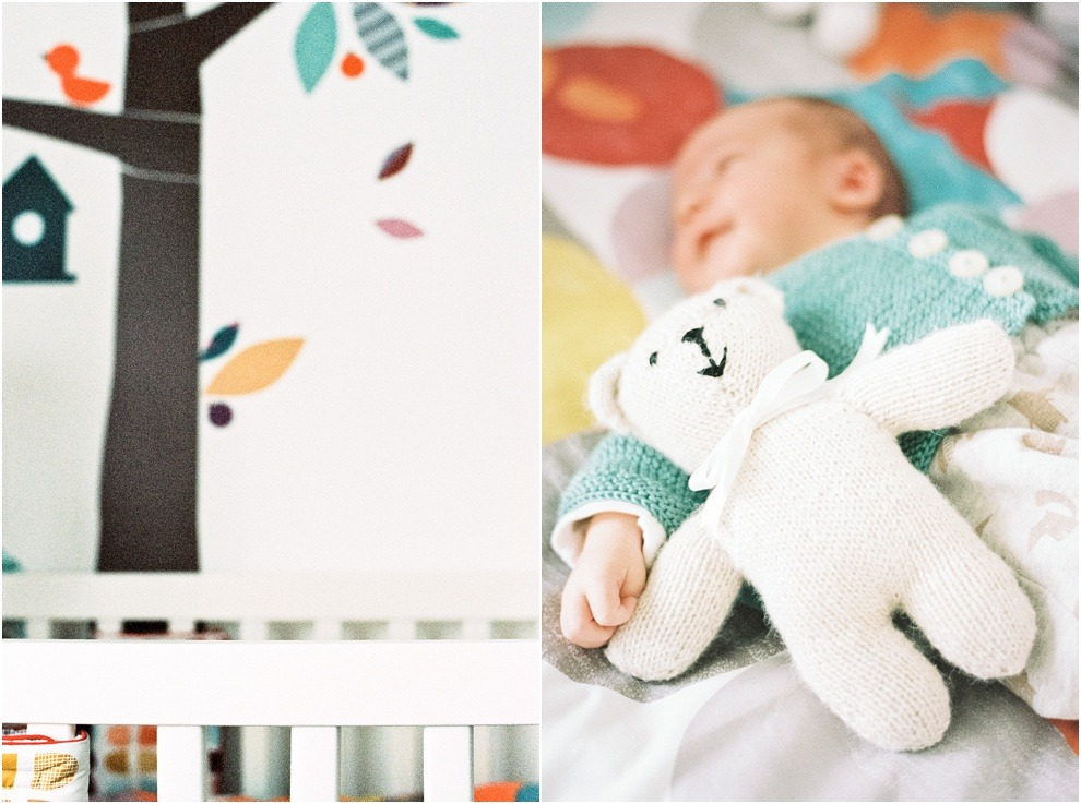 Newborn lifestyle photography of nursery and toys.