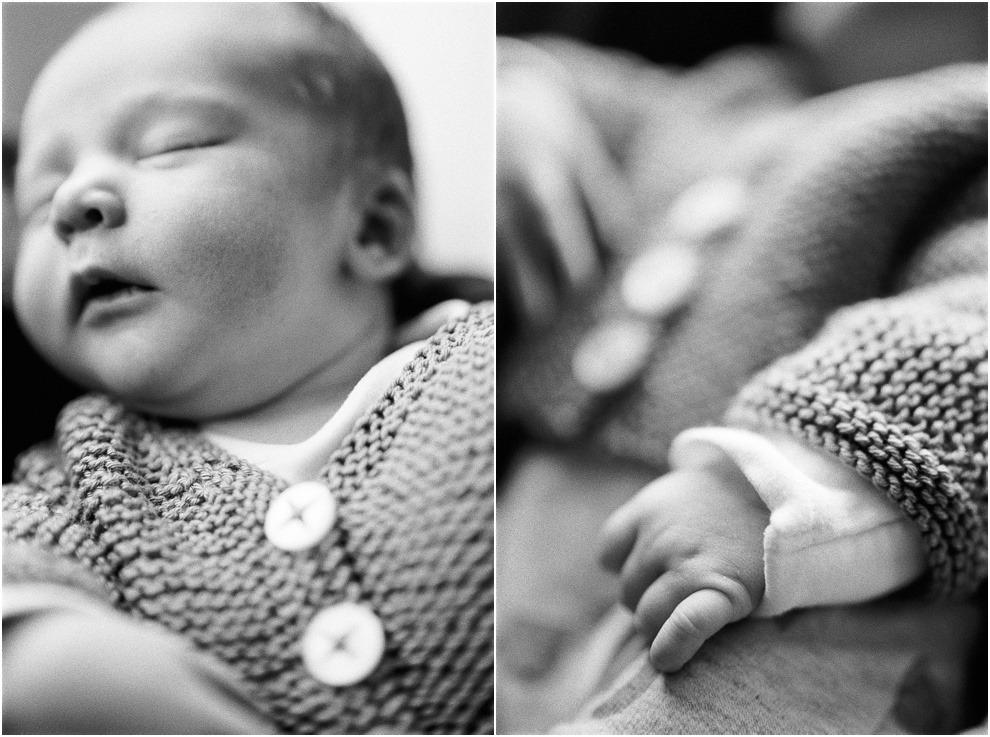 Newborn Baby details, close up, black and white, herts.