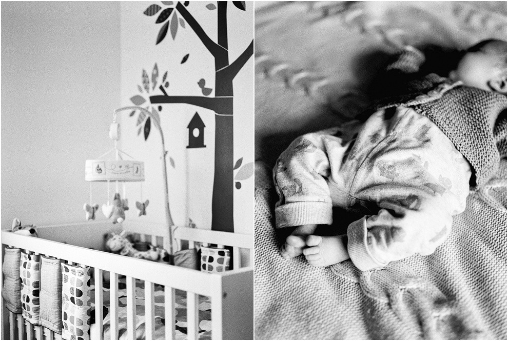 Baby photography details of nursery shot on black and white film in Hertforshire