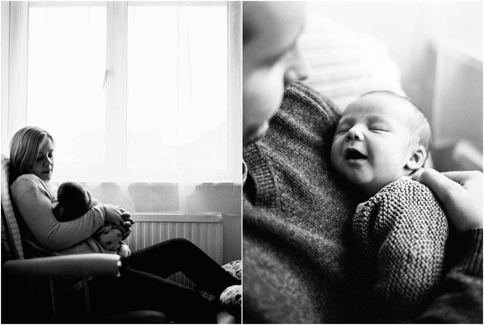 Portraits of newborn baby with mother and father in Herfordshire