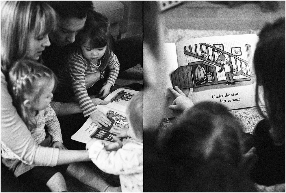 Black and while family photography, reading together