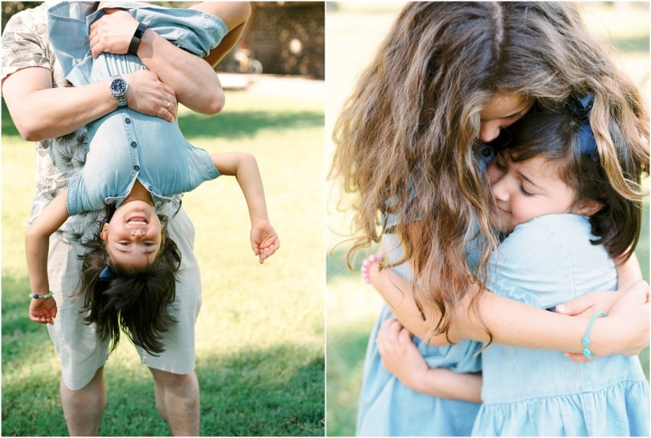 Dyptych of girl laughing as dangling uside down and sisters cuddling