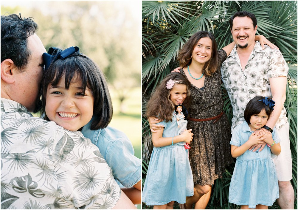 Dyptych of daughter smiling at camera and family together by a green tree