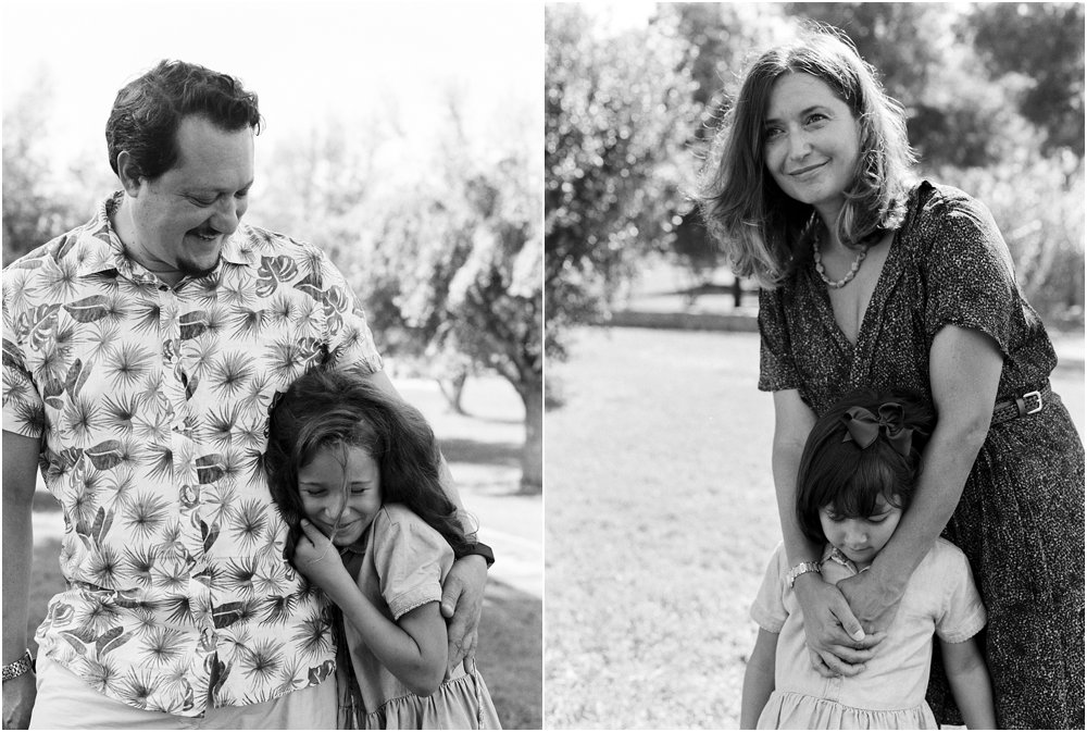 Black and White dyptych of father and daughter and mother and daughter