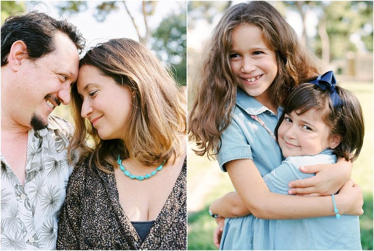 Dyptych of family cuddling in a park