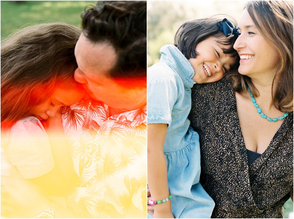 Dyptych of mother and daughter together and father and daughter wit colourful lightleak