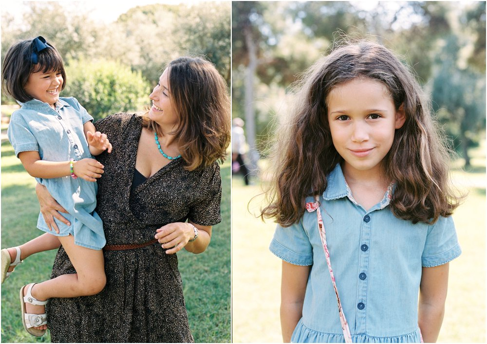 Dyptych of mother and daughters in a park