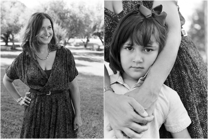 Black and white dyptych of mother and daughter
