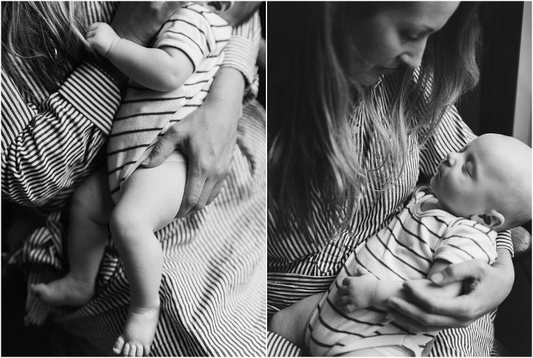 Two images, black and white of mother holding baby, close up of hands on baby legs and sleeping child.