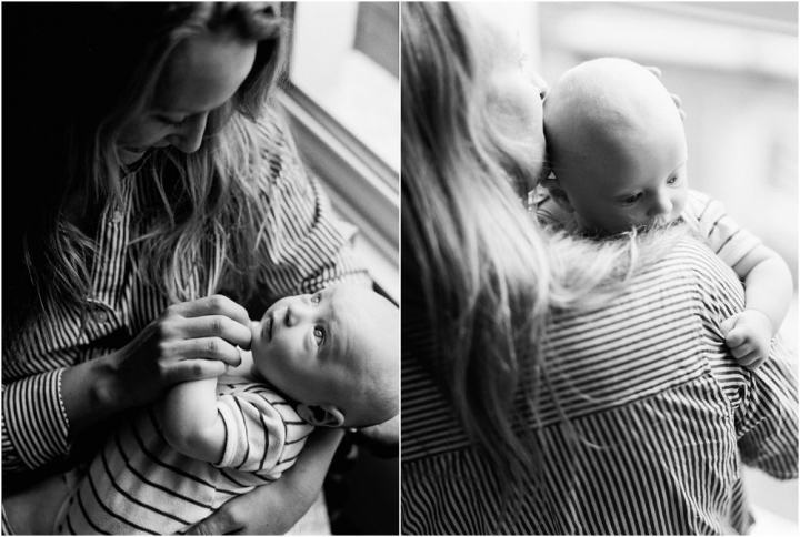 Two images, black and white of mother holding baby, baby looking at mum and looking over shoulder.