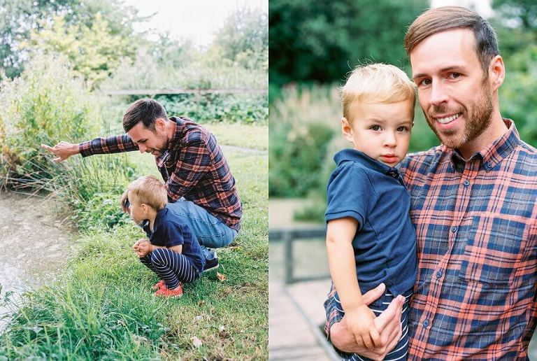Two images, one of adult and boy crouched looking out over a pond. The other image is a close up portrait of adult holding child looking at the camera | Family Woodland Shoot