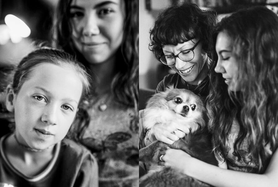 Black and white image of mother and daughters | Colour family photography