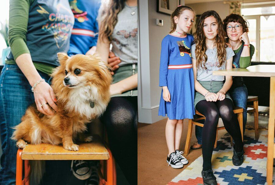 Mother and sughters sat around the kitchen table and portrait of a dog | Colour family photography