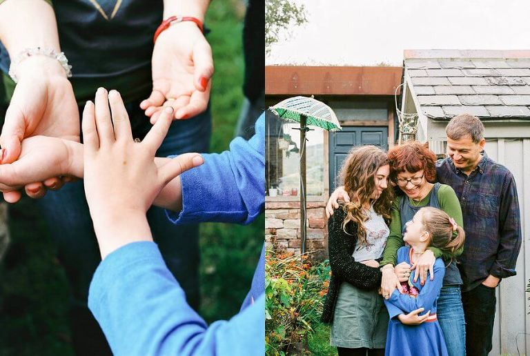 Family picture together ouside in the garden | Colour family photography