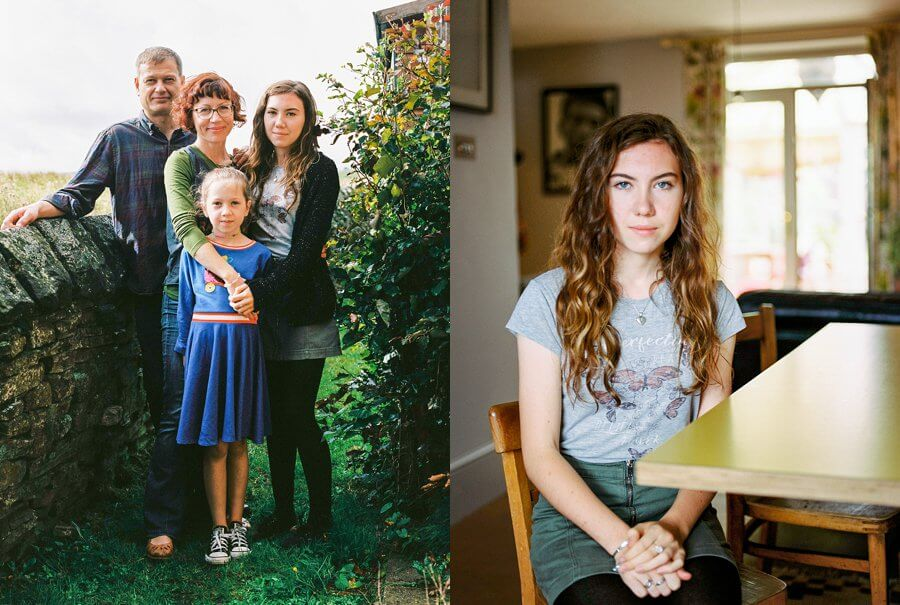 Family Group Shot outside, girl sat by kitchen table | Colour family photography