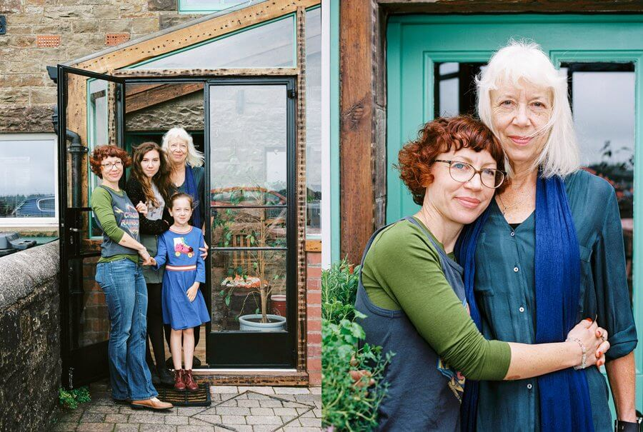 Family Group Shot with Grandma outside of the house | Colour Family Photography