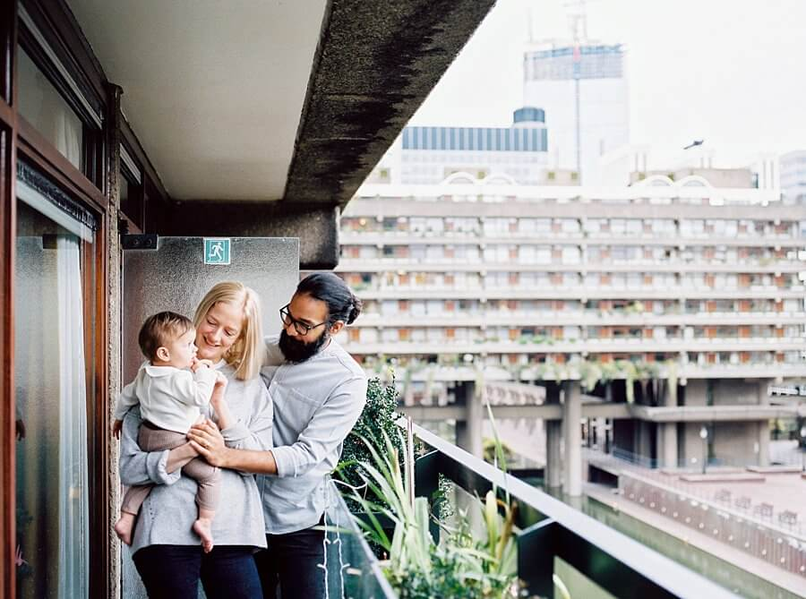 Family Portrait on blacony at The Barbican London