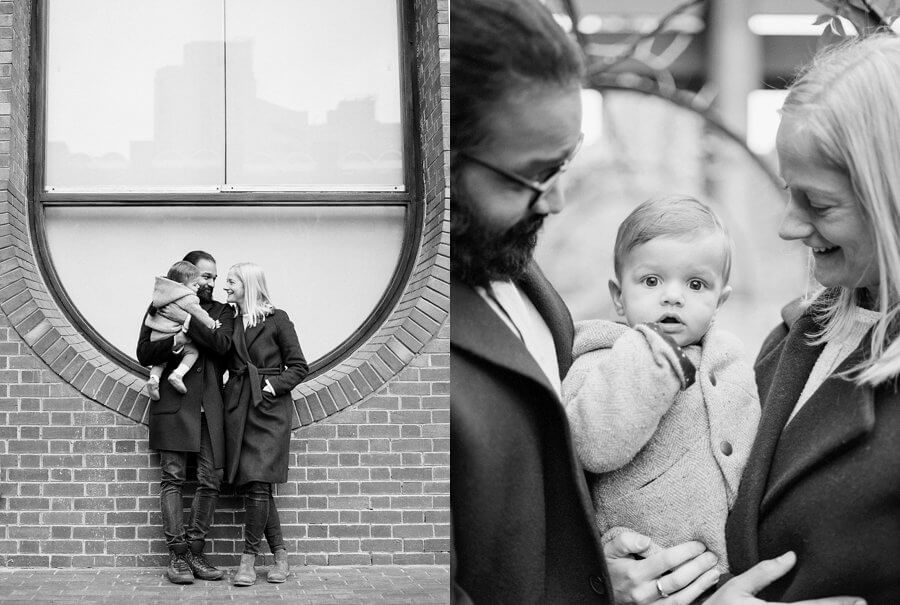Black and white diptych of Mum & Dad and child stood in front of a big window and a close p of family together.