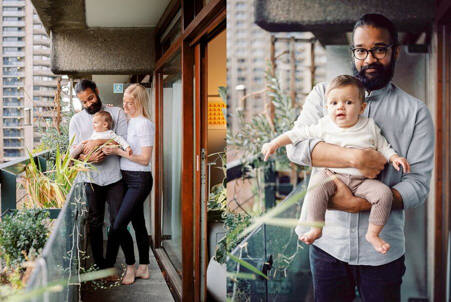 Diptych of Mum & Dad holiday baby on balcony with plants in front of brutalist building and Dad cuddling baby.