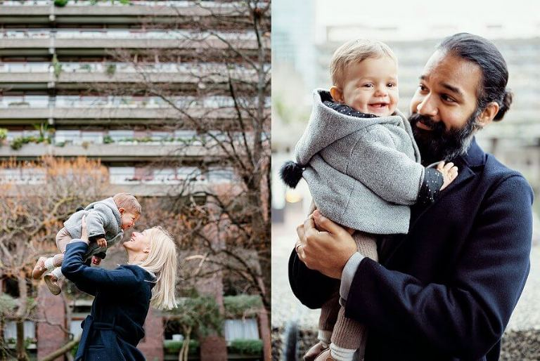 Diptych of Mum holiday baby in front of brutalist building and Dad cuddling baby.